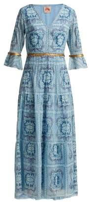 Le Sirenuse Le Sirenuse, Positano - Bella Aretusa-print Cotton Midi Dress - Womens - Light Blue