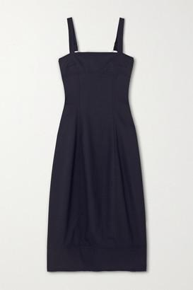 LVIR Wool-crepe Midi Dress - Navy