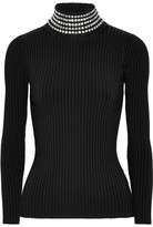 Alexander Wang Crystal-embellished Ribbed Stretch-knit Turtleneck Sweater - Black