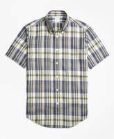 Brooks Brothers Regent Fit Large Plaid Irish Linen Short-Sleeve Sport Shirt