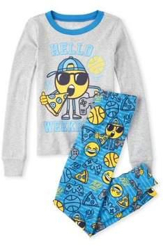 Children's Place The Long Sleeve Emoji Printed 'Hello Weekend' 2 Piece Pajama Set (Little Boy & Big Boy)