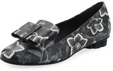 Salvatore Ferragamo Floral-Print Leather Bow Loafer