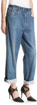 Brunello Cucinelli Relaxed-Fit Drawstring Jeans with Metallic Stripes, Blue
