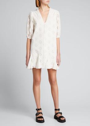 Rhode Resort Sara Eyelet Mini Godet Dress
