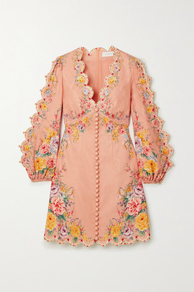 Zimmermann Zinnia Floral-print Linen And Cotton-blend Mini Dress - Pink