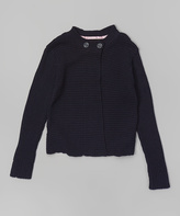 Eddie Bauer Navy Button-Neck Cardigan - Girls