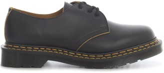 Dr. Martens 1461 Doubel Stitch Black Yellow Smooth Lace Up Shoes