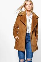 Boohoo Hollie Rib Wool Belted Robe Coat