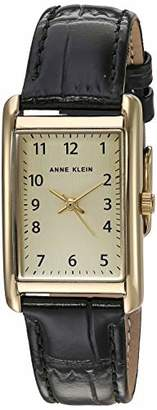 Anne Klein Women's Easy to Read Gold-Tone and Black Croco-Grain Leather Strap Watch