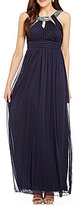 Jodi Kristopher Crystal Embellished High Keyhole Neckline Long Dress