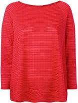 Armani Collezioni sheer striped jumper - women - Viscose/Spandex/Elastane - 42