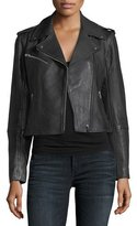 Club Monaco Gracella Zip-Front Cropped Leather Jacket