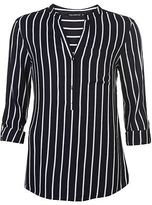 Full Circle Womens Stripe Blouse Long Sleeve Casual Shirt Lightweight Pattern