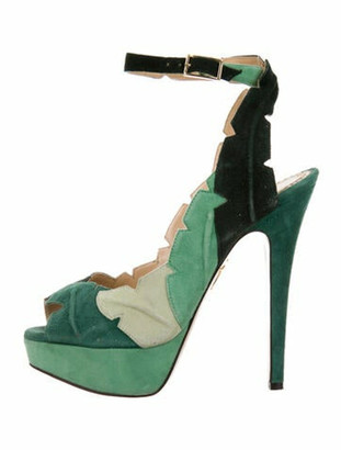 Charlotte Olympia Suede Colorblock Pattern Sandals Green