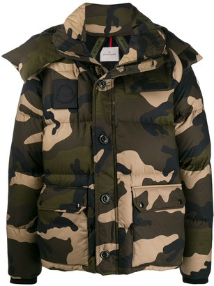 Moncler Camouflage-Print Down Jacket