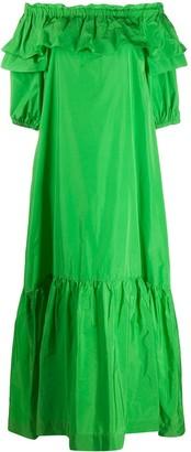P.A.R.O.S.H. Off-The-Shoulder Ruffled Maxi Dress