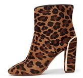 Diane von Furstenberg Glenda Stacked Heel Leather Bootie In Leopard Haircalf Print