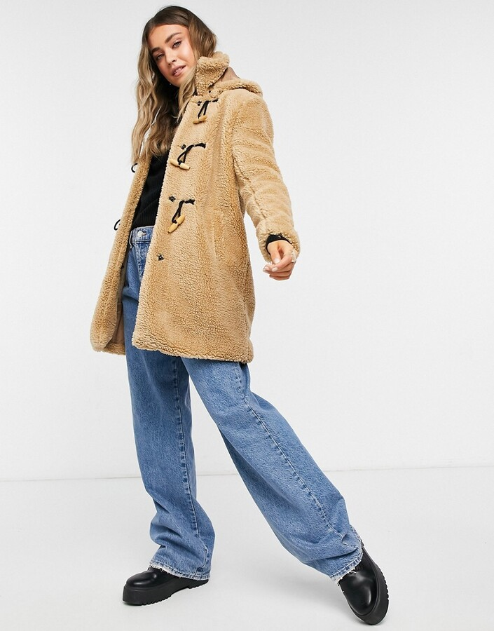 Thumbnail for your product : Qed London sherpa toggle coat in sand