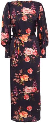 Mother of Pearl Zoe Velvet-trimmed Floral-print Hammered-satin Midi Dress