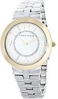 Anne Klein White Dial Gold-tone Bezel Silver Bracelet Watch AK/1761WTTT