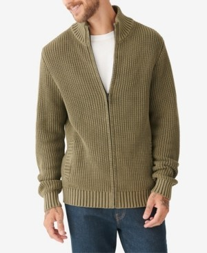 Lucky Brand Men's Washed Full Zip Mock Neck Sweater