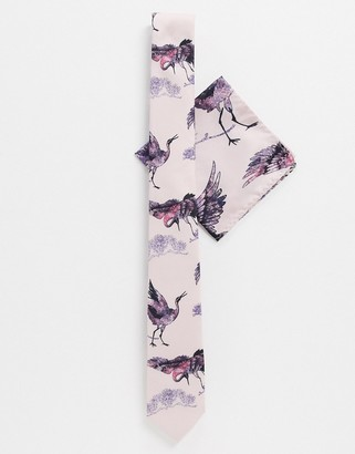 Twisted Tailor tie set with crane print in light pink