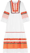 Tory Burch Annalise Broderie Anglaise-trimmed Embroidered Cotton Midi Dress - White