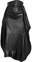 Awake Ruffled Faux Leather Midi Skirt - Black