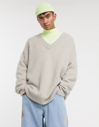 Asos oversized v-neck jumper in alpaca knit