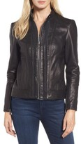 Vince Camuto Women's Braid Detail Leather Jacket