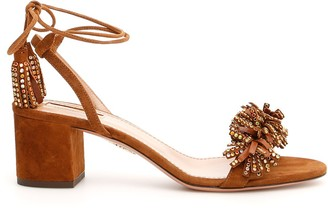 Aquazzura Fringe Detail Tassel Sandals