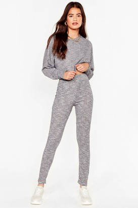 Nasty Gal Womens Let Rib Be Cropped Sweater and Leggings Set - Grey