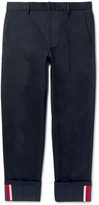 Gucci Highlands Slim-Fit Webbing-Trimmed Cotton-Drill Trousers