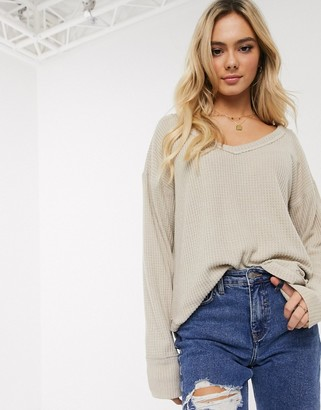 Hollister slouchy long sleeve waffle top-Cream
