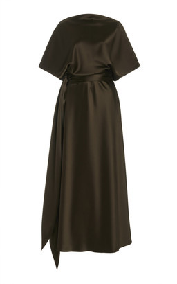 Brandon Maxwell Draped Silk Maxi Dress