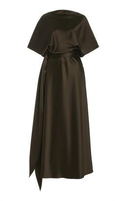 Brandon Maxwell Draped Silk Maxi Dress