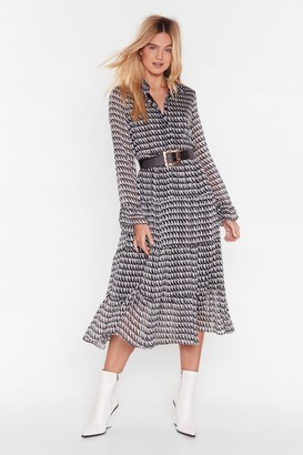 Nasty Gal Womens Houndstooth It Going Chiffon Midi Dress - Black