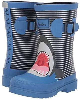 Kid Blue Joules Kids Printed Welly Rain Boot (Toddler/Little Kid/Big Kid) (Blue Stripe Shark) Boys Shoes