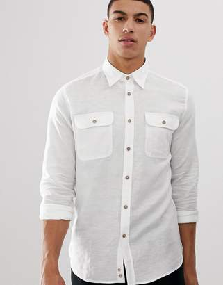 Benetton linen shirt with pockets in white