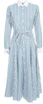 Polo Ralph Lauren Dress L/s Chemisier W/stripes And Godet Skirt