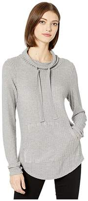 Chaser Thermal Mock Neck Shirttail Pullover with Thumbhole