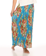 Le Mieux Turquoise & Orange Floral Crinkle Maxi Skirt - Plus Too