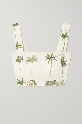 Agua Bendita Cacao Cropped Printed Linen Top - Ivory