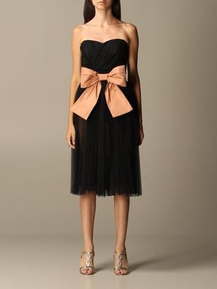 Elisabetta Franchi Lace Decollette With Bow Belt