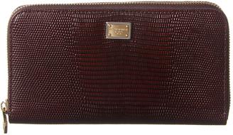 Dolce & Gabbana Lizard-Embossed Leather Zip Around Wallet