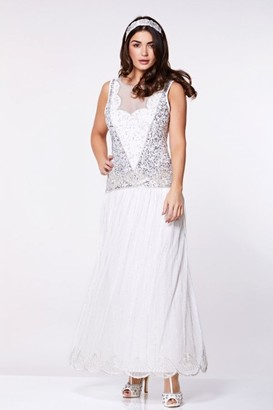 Gatsbylady London Elaina Drop Waist Flapper Maxi Dress in Off White