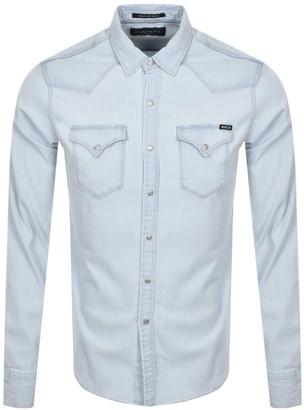 Replay Long Sleeved Shirt Blue