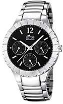Lotus Women's Quartz Watch with Black Dial Analogue Display and Silver Stainless Steel Bracelet 15902/2