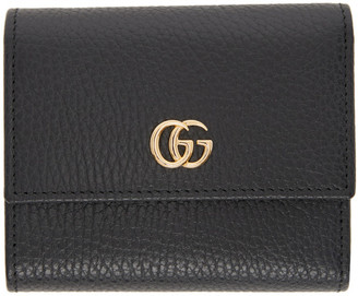 Gucci Black Small GG Marmont Trifold Wallet