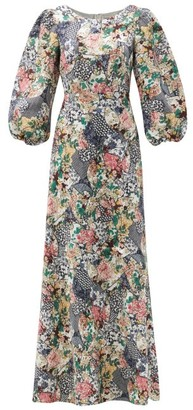 Saloni Lily Floral Ceramic-print Balloon-sleeve Silk Gown - Pink Multi